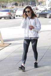 Lily Collins in Spandex - Grabs Some Ice Tea in Beverly Hills 08/17/2017