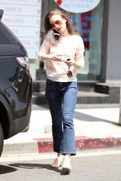 Lily Collins Wears a Pink Sweater - Shopping in West Hollywood 08/14/2017