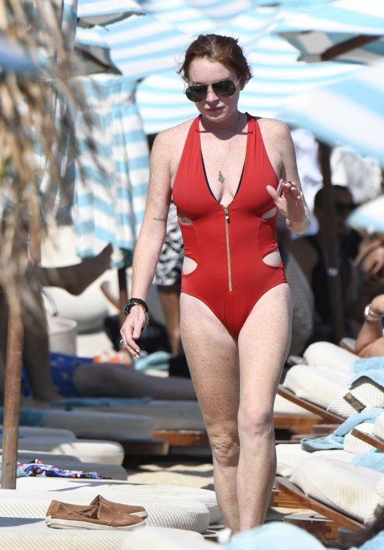 Lindsay Lohan in a Red Swimsuit - Mykonos 08/28/2017