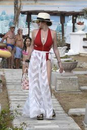 Lindsay Lohan in a Red Swimsuit on Nammos Beach in Mykonos 08/21/2017