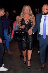 Mariah Carey in Tight Leather Dress - After Her Madison Square Garden Concert 08/19/2017
