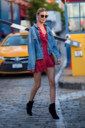 Martha Hunt in a Red Dress and Denim Jacket - NYC 08/24/2017