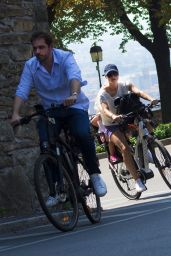 Michelle Hunziker - On Bicycle in Bergamo 08/05/2017