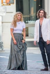 Nina Agdal and Singer Tyson Ritter - Photoshoot in Soho, NYC 08/24/2017
