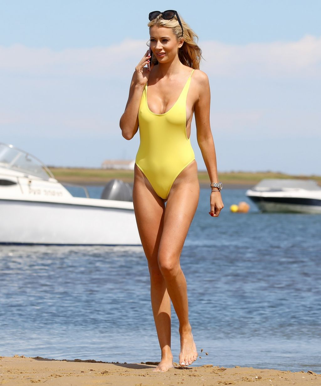 Olivia Attwood in a Yellow Swimsuit - Holiday in Portugal 08/10/2017