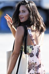 """Olivia Munn in a Low-Cut Floral Print Dress - """"Buddy Games"""" Set in Vancouver 08/16/2017"""