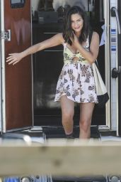 "Olivia Munn in a Low-Cut Floral Print Dress - ""Buddy Games"" Set in Vancouver 08/16/2017"