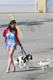 Olivia Munn - Walks Her Dogs in Burnaby, Canada 08/12/2017