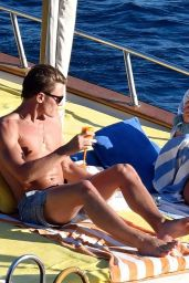 Pixie Lott Relaxing on Board Boat - Holiday in Italy 08/15/2017