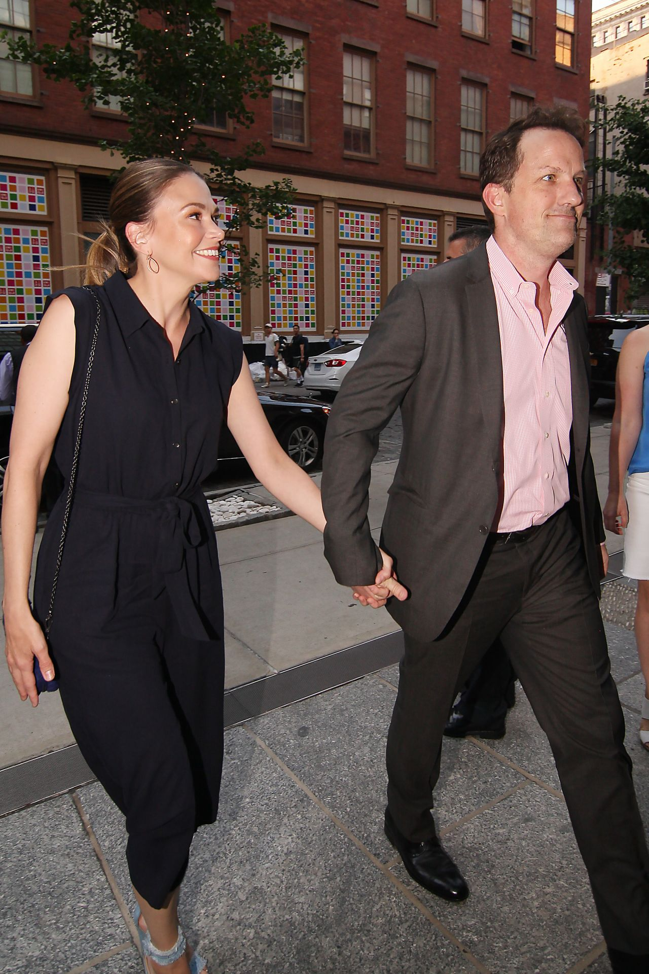Sutton Foster Enters The Crosby Hotel In New York City
