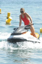 Tallia Storm in a Red Swimsuit - Jet Ski in Marbella 08/20/2017