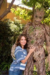 "Tina Fey Meets Groot of ""The Guardians of The Galaxy"" Outside of The Guardians of The Galaxy, CA 08/13/2017"