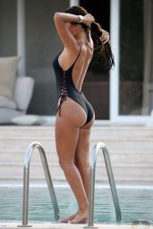 Yazmin Oukhellou in a Black Swimsuit - Holiday in Turkey, July 2017