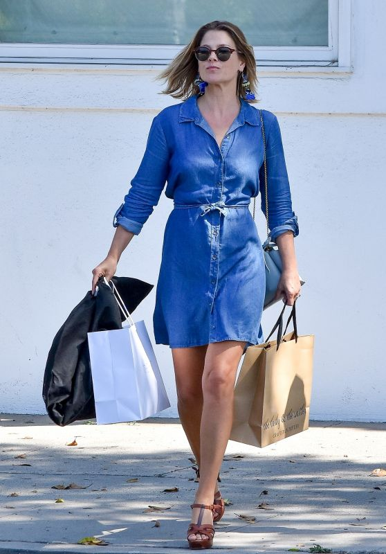 Ali Larter in Denim Mini Dress - Shopping in Beverly Hills 09/11/2017