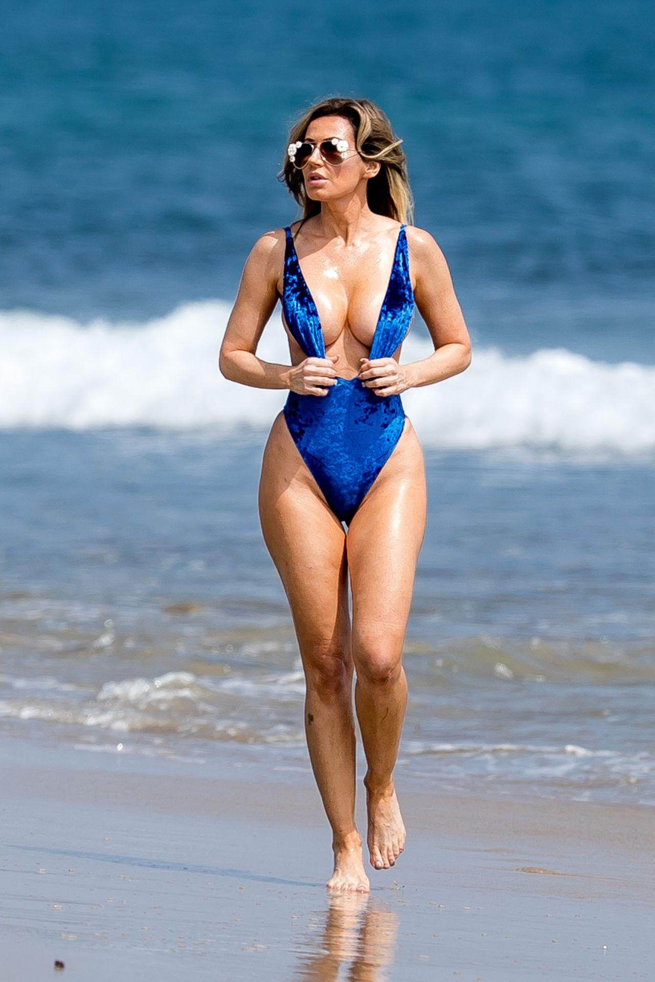 Ana Braga in a Blue Swimsuit - Beach in Malibu 09/14/2017