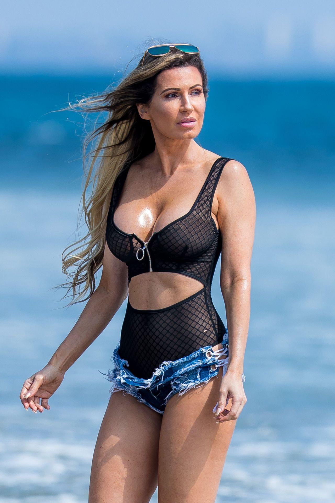b9c82d6074 Ana Braga in Tiny Daisy Duke Shorts - Beach in Malibu 09/15/2017