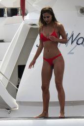 Ann-Kathrin Brommel in a Red Bikini - On a Yacht in Mallorca 09/03/2017