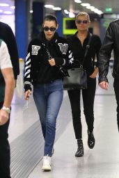 Bella Hadid in Travel Outfit - Malpensa Airport in Milan 09/24/2017