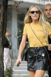 Candice Swanepoel Leaving Bottega Veneta Fashion Show in Milan 09/23/2017