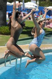 Casey Batchelor & Frankie Essex in a Swimsuits Poolside in Spain 09/18/2017