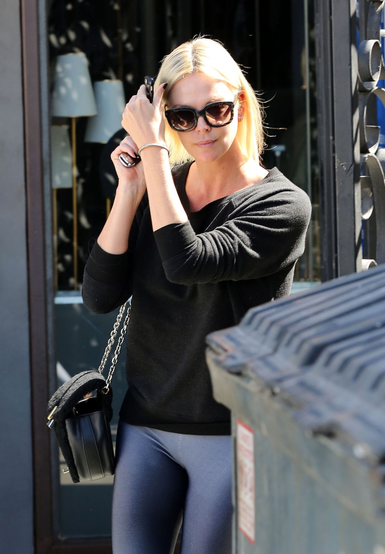 Charlize Theron in Tings - Leaving the 901 Salon in West Hollywood 09/29/2017
