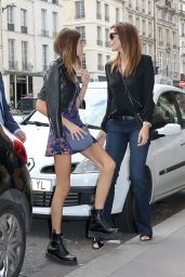 Cindy Crawford & Kaia Gerber at Cafe Flore in Paris 09/25/2017