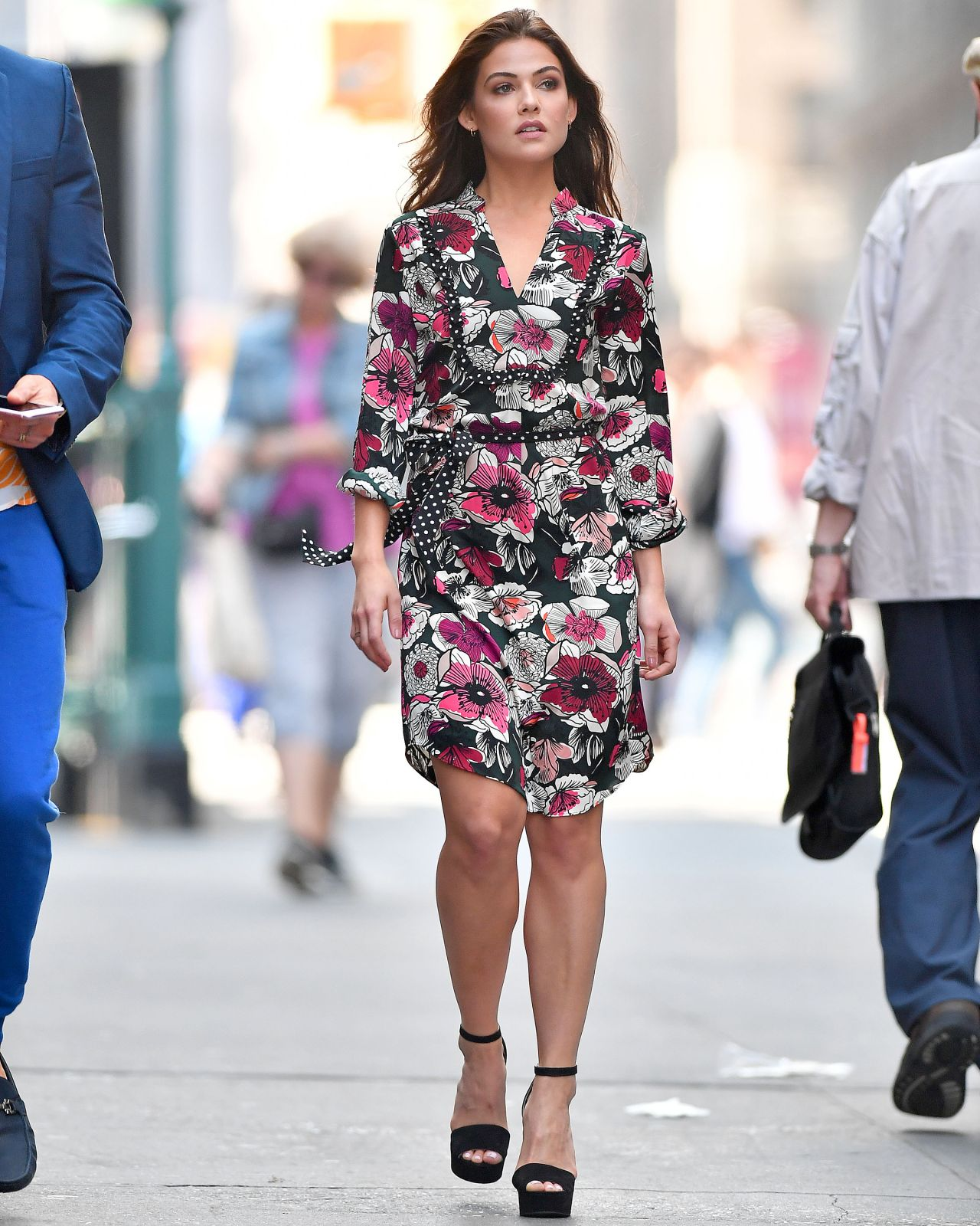 Danielle Campbell In A Floral Dress In Nyc 09 06 2017