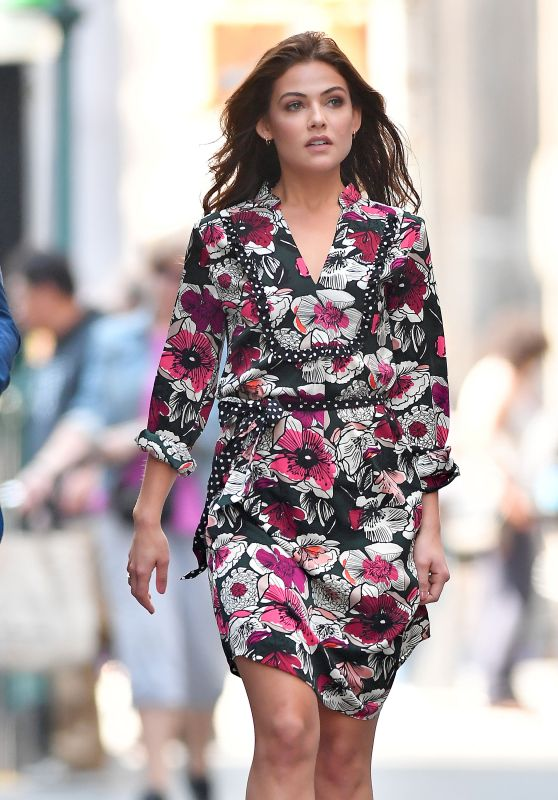 Danielle Campbell in a Floral Dress in NYC 09/06/2017