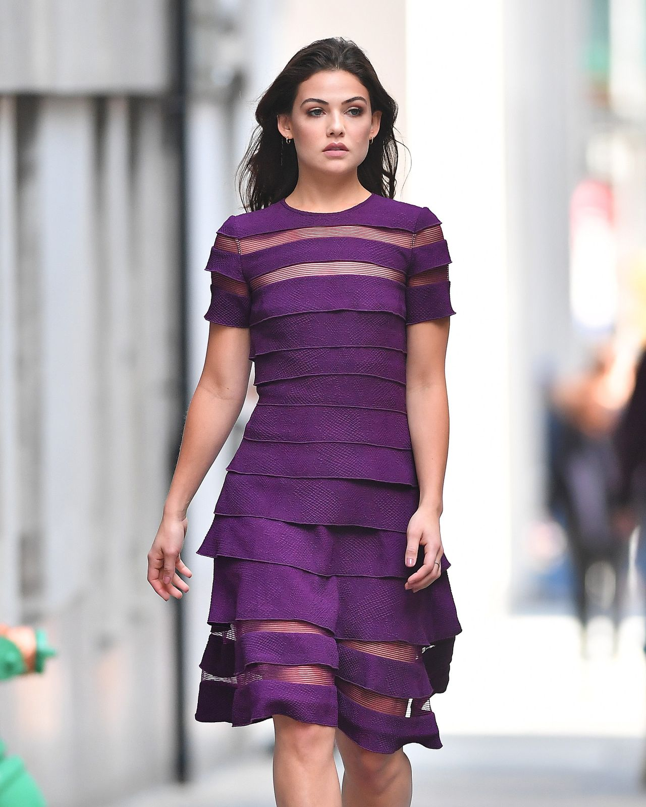 Danielle Campbell In A Purple Dress New York City 09 07 2017