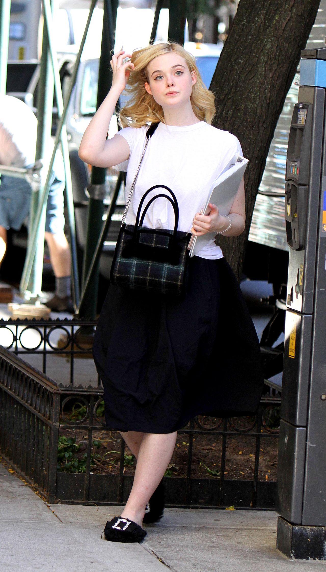 Elle Fanning - Woody Allen Film Set in NYC 09/29/2017