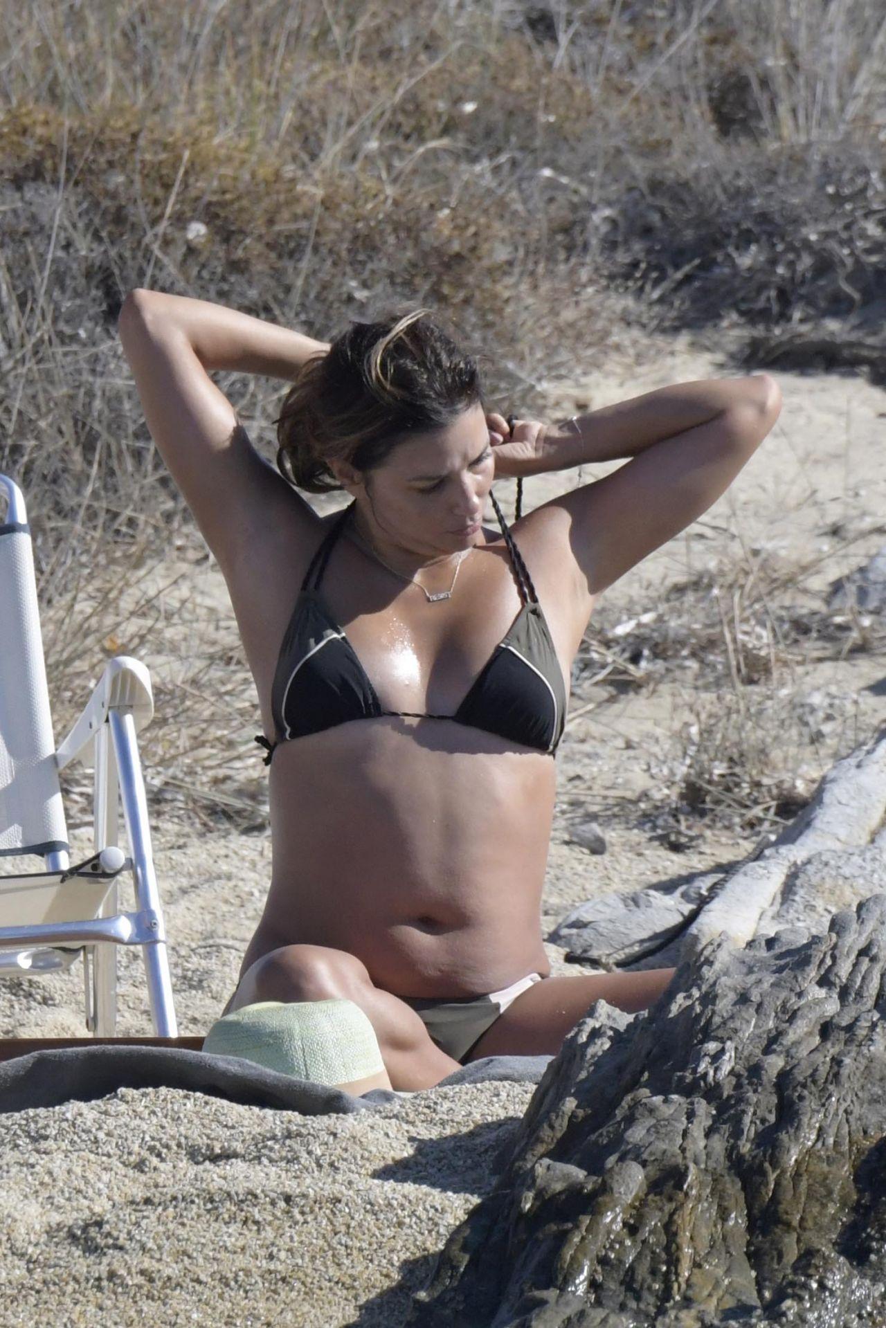 Eva Longoria Bikini Candids - Beach in Delos, Greece 09/07/2017