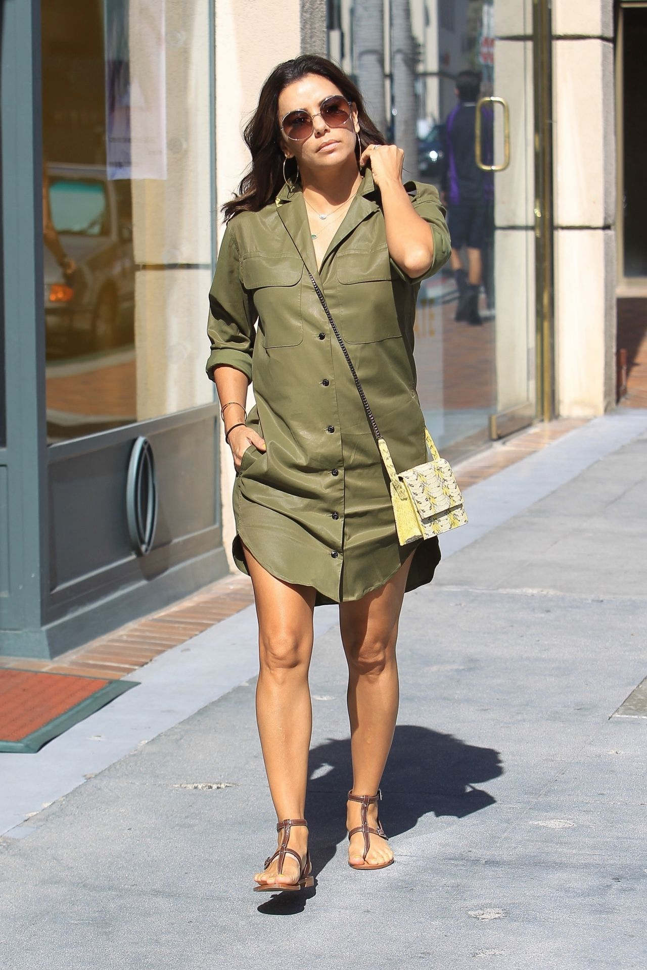 Eva Longoria out in army green