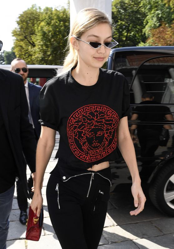 Gigi Hadid - Arriving at Versace Fashion Show in Milan 09/22/2017