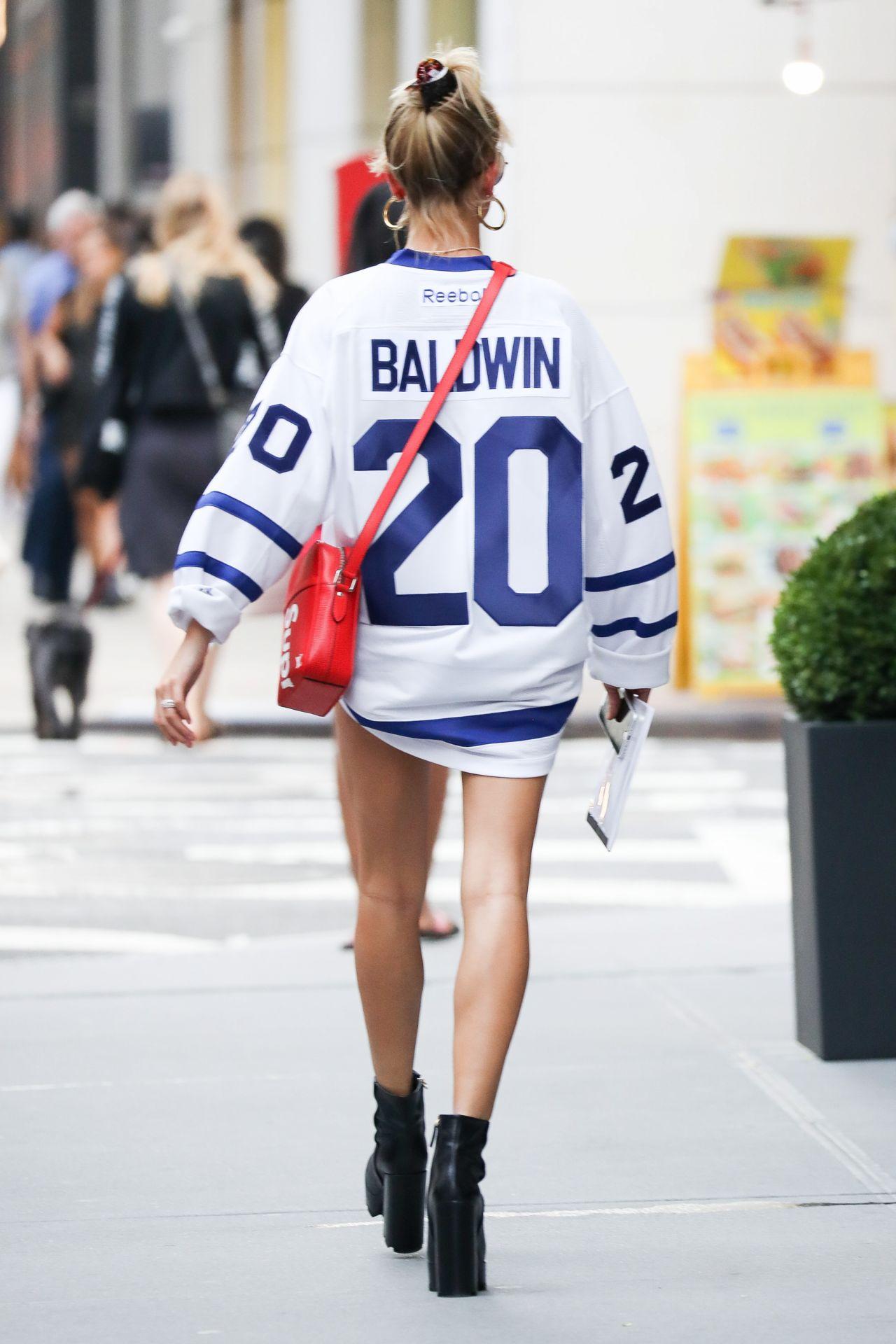 Hailey Baldwin Leggy in Denim Shorts - NYC 09/05/2017