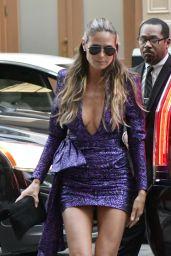 Heidi Klum in a Mini Purple Dress - NYC 09/08/2017