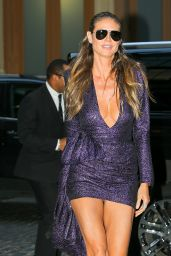 Heidi Klum in a Mini Purple Dress - NYC 09/08/2017