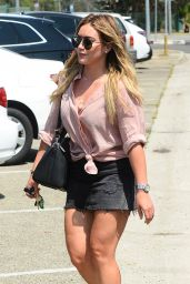 Hilary Duff in a Denim Mini Skirt - Leaving a Salon in West Hollywood 08/31/2017
