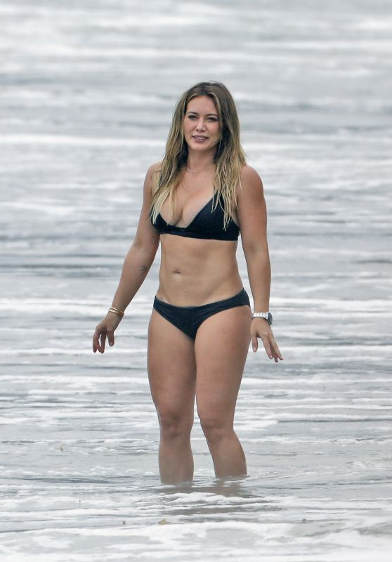 Hilary Duff in Black Bikini - Beach in Malibu 09/04/2017