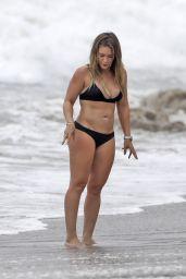 Hilary Duff in Black Bikini - Beach in Malibu 09/04/2017