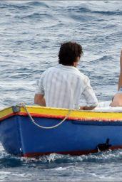 "Lily James in a Blue Bikini Top and Denim Shorts - ""Mama Mia!"" Sequel Set at Vis Island in Croatia 09/12/2017"