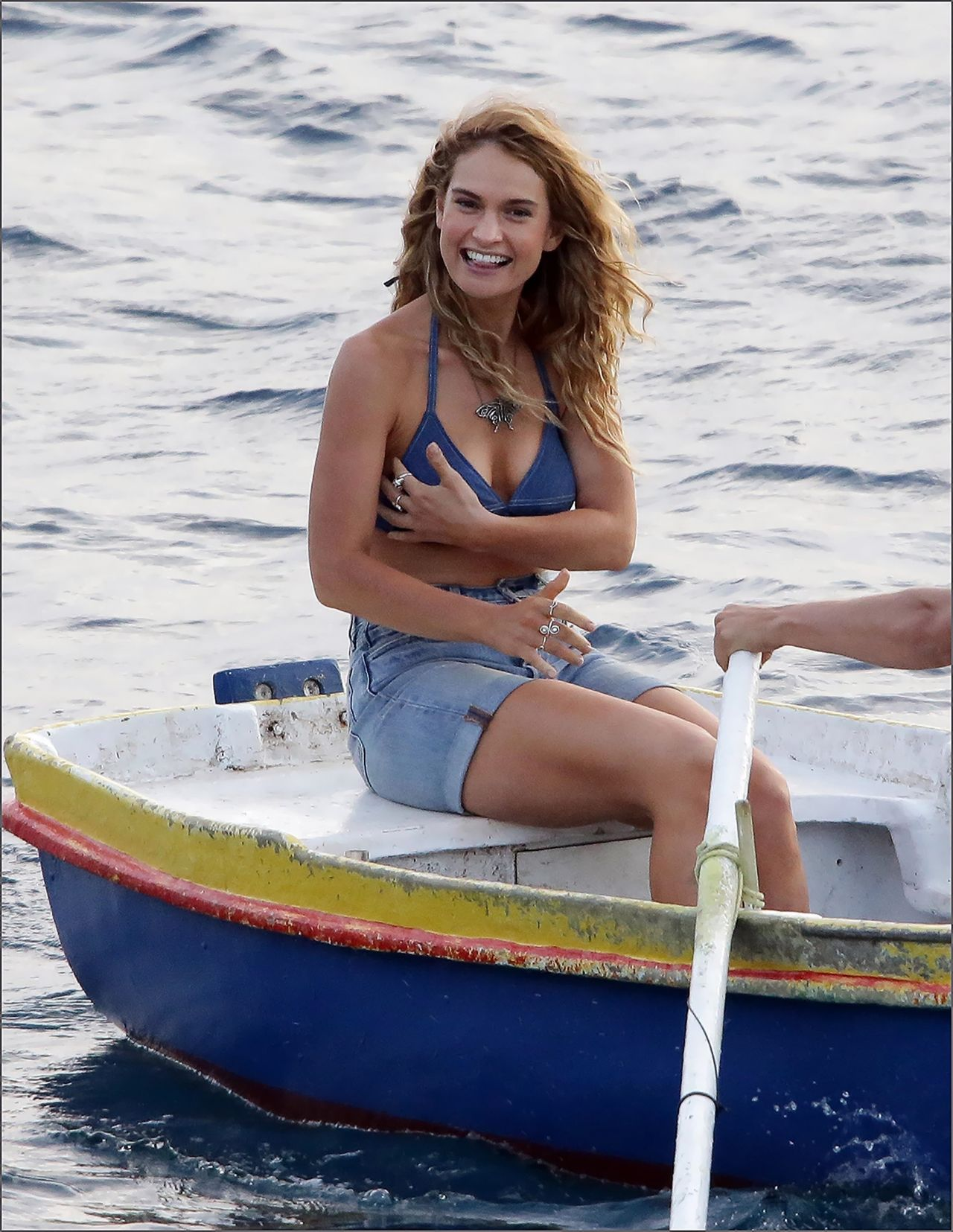"Lily James in a Blue Bikini Top and Denim Shorts - ""Mama Mia!"" Sequel Set at Vis Island in Croatia 09/12/2017"
