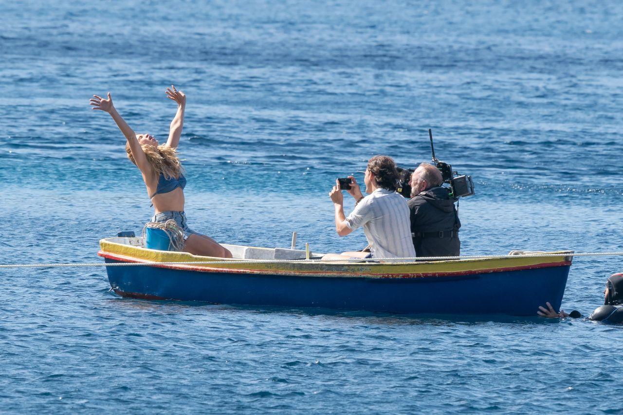 Lily James on Croatian Set of Mamma Mia: Here We Go Again! 09/15/2017