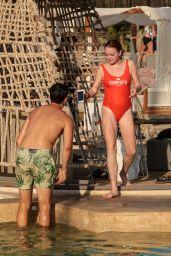 Lindsay Lohan in Red Swimsuit on Mykonos Island, Greece 09/03/2017