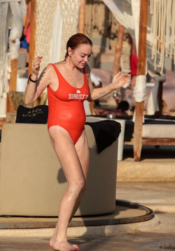 Lindsay Lohan in Red Swimsuit on Mykonos Island, Greece 09/03/2017