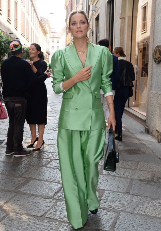 Marion Cotillard in a Lime Green Statment Suit in Milan 09/25/2017