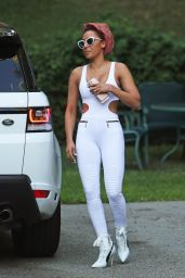 Melanie Brown in An All-White Bodysuit - Los Angeles 09/23/2017