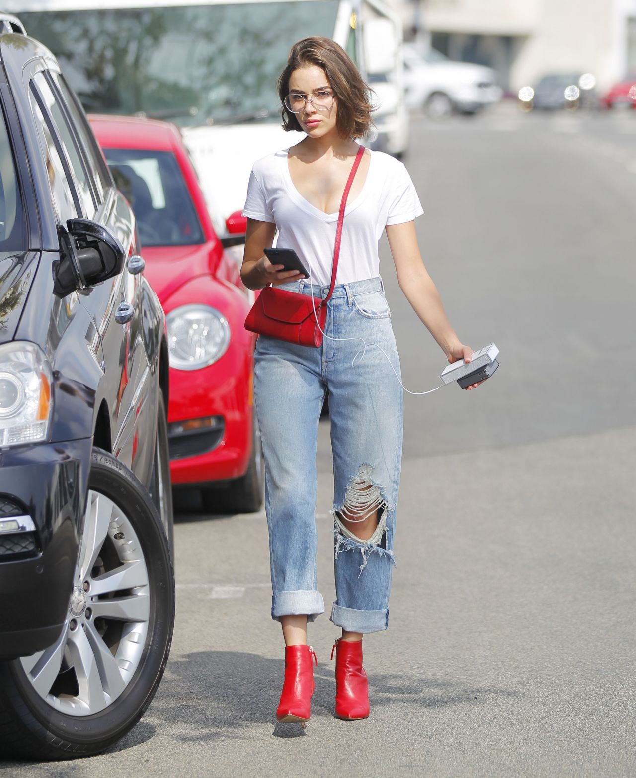 Olivia Culpo in Ripped Jeans - Beverly Hills 09/19/2017