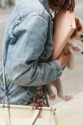 Selena Gomez - Arriving at Her Hotel With Her Puppy in NYC 09/18/2017