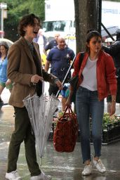 Selena Gomez - Film Under the Rain at Movie Set in New York 09/20/2017
