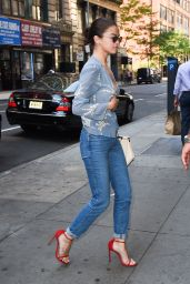 Selena Gomez in a Blue Floral Top - NYC 09/25/2017